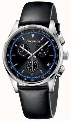 Calvin Klein | conclusão | pulseira de couro preta | mostrador preto | KAM271C1