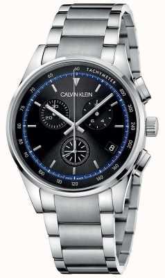 Calvin Klein | conclusão pulseira de aço inoxidável | mostrador preto | KAM27141