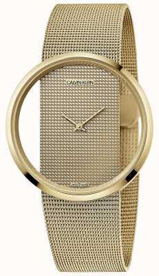 Calvin Klein | glam | pulseira em malha de aço folheado a ouro pvd | mostrador de ouro | K9423Y29