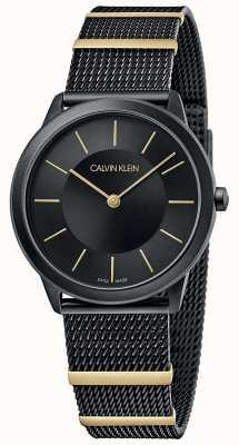 Calvin Klein | mínimo | pulseira de malha preta | mostrador preto | 35mm K3M524Z1