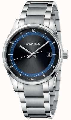 Calvin Klein | conclusão pulseira de aço inoxidável | mostrador preto / azul | KAM21141