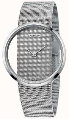 Calvin Klein | glamour | pulseira de malha de aço prateado | mostrador prateado | K9423T27