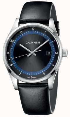 Calvin Klein | conclusão pulseira de couro preto | mostrador preto / azul | KAM211C1