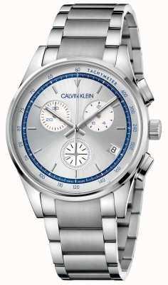 Calvin Klein | conclusão | pulseira de aço inoxidável | mostrador prata / azul | KAM27146