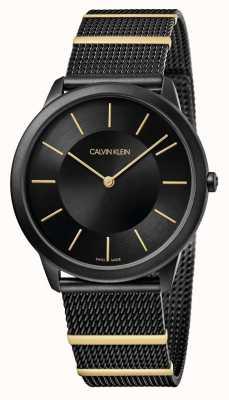 Calvin Klein | mínimo | pulseira de malha de aço preto | mostrador preto | K3M514Z1