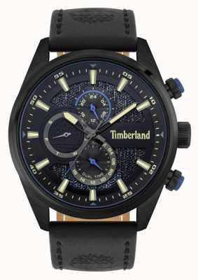 Timberland | buscadores ao ar livre | pulseira de couro preto | mostrador preto / azul | 15953JSB/02