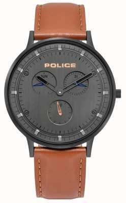 Police | berkeley para homem | pulseira de couro marrom | mostrador cinza | 15968JSB/39