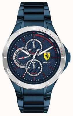 Scuderia Ferrari | pista para homem | pulseira de aço azul-ionada | mostrador azul 0830759