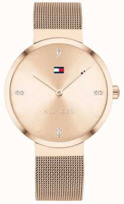 Tommy Hilfiger Liberdade | pulseira de malha em ouro rosa | mostrador em ouro rosa 1782218