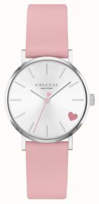 Coach | perada das mulheres | pulseira de pele de bezerro rosa | mostrador prateado 14503518