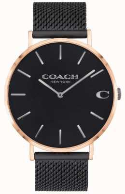 Coach | charles para homem | pulseira de malha preta | mostrador preto | 14602470