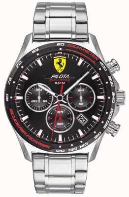 Scuderia Ferrari | pilota evo para homem | pulseira de aço inoxidável | mostrador preto | 0830714
