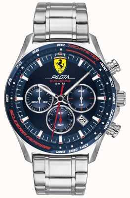 Scuderia Ferrari | pilota evo para homem | pulseira de aço inoxidável | mostrador azul 0830749