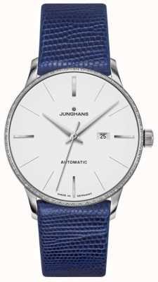 Junghans Meister senhoras couro azul automático 027/4046.00