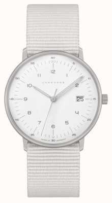 Junghans Max bill damen | pulseira de náilon branca | mostrador branco 047/4050.04