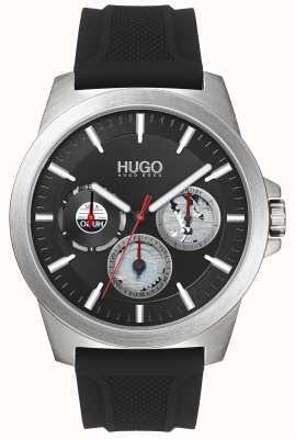 HUGO #twist | pulseira de borracha preta | mostrador preto | 1530129