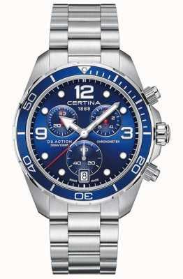 Certina Ds action chrono | cronômetro | pulseira de aço inoxidável C0324341104700