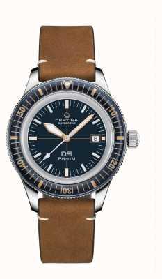 Certina Ds ph200m   automático   moldura de cerâmica   pulseira de couro marrom C0364071604000