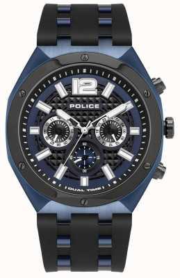 Police Quediri pulseira de borracha preta | mostrador azul 15995JSBLU/03P