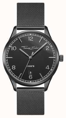 Thomas Sabo | glamour e alma | pulseira de malha preta para mulher | mostrador preto WA0362-202-203-36