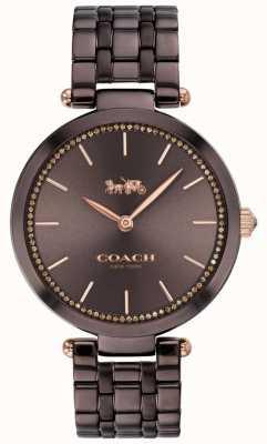 Coach | parque das mulheres | pulseira de aço preto / marrom | mostrador marrom 14503507
