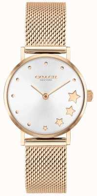 Coach | perada das mulheres | pulseira de malha de ouro rosa | mostrador prateado | 14503520