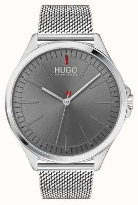 HUGO #smash | pulseira de malha de prata | mostrador cinza | 1530135