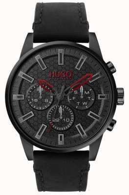 HUGO | #seek | pulseira de couro preto | mostrador preto | 1530149