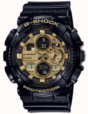 Casio Hora mundial do choque G | pulseira de borracha preta | GA-140GB-1A1ER