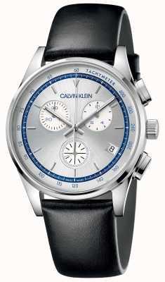 Calvin Klein | conclusão masculina | pulseira de couro preto | mostrador prateado KAM271C6