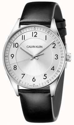 Calvin Klein | brilhante | pulseira de couro preto | mostrador prateado KBH211C6