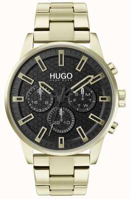 HUGO #seek | pulseira de aço inoxidável ouro | mostrador preto | 1530152