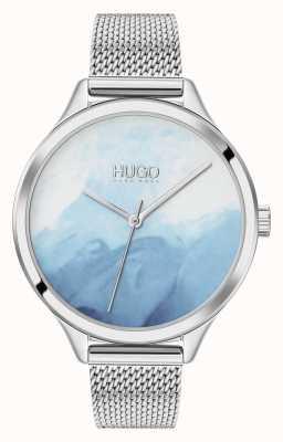 HUGO #smash | mostrador azul de blush | malha de aço inoxidável 1540061