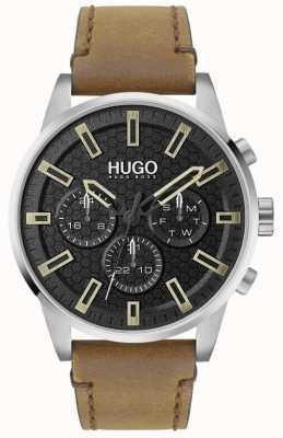 HUGO #seek | mostrador preto | pulseira de couro marrom 1530150