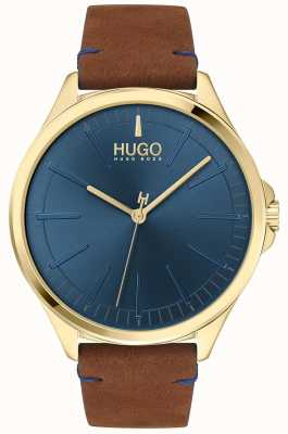 HUGO #smash | mostrador azul | pulseira de couro marrom 1530134