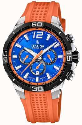 Festina Bracelete laranja com mostrador azul Chrono bike 2020 F20523/6
