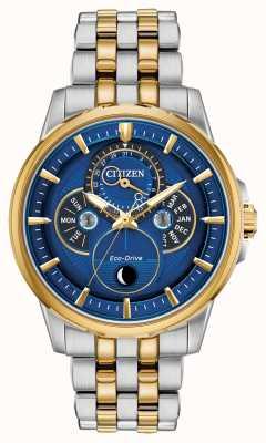 Citizen | homem | eco-drive | fase da lua | mostrador azul BU0054-52L