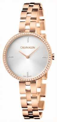 Calvin Klein Elegância pulseira pvd em ouro rosa | mostrador prateado KBF23146