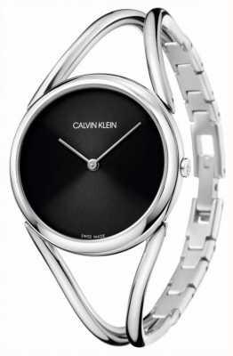 Calvin Klein Senhora pulseira de aço inoxidável | mostrador preto KBA23121
