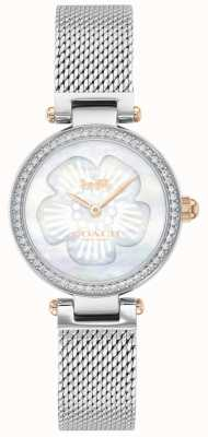 Coach | parque das mulheres | pulseira de malha de aço | mostrador de flores | 14503510