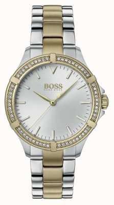 BOSS | mini esporte feminino | pulseira de aço bicolor | mostrador prateado 1502467