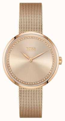 BOSS | elogios para mulheres pulseira de malha de aço ouro rosa | mostrador rosa 1502548
