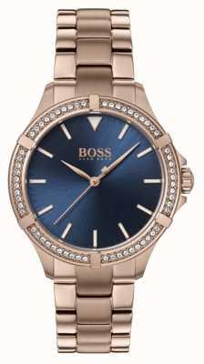 BOSS | mini esporte feminino | pulseira de ouro rosa | mostrador azul 1502468