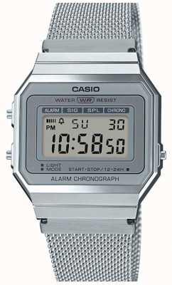 Casio | vintage | pulseira de malha de aço | cronômetro | luz de fundo led A700WEM-7AEF
