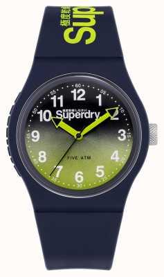 Superdry Lazer urbano | pulseira de silicone azul marinho | mostrador limão / marinho SYG198YU