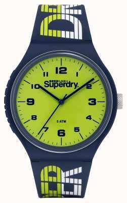 Superdry Corrida urbana xl | pulseira de silicone azul marinho | mostrador verde SYG269UN