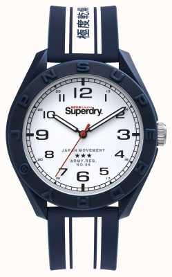 Superdry Utilitário de Osaka | pulseira de silicone azul / branca | mostrador branco SYG305UW