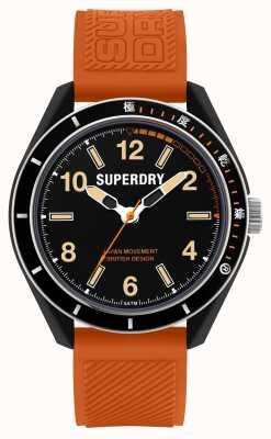 Superdry Mergulho em Osaka | pulseira de silicone laranja | mostrador preto SYG304O