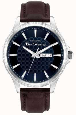 Ben Sherman | pulseira de couro marrom para homem | mostrador azul BS029BR