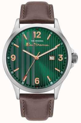 Ben Sherman | pulseira de couro marrom para homem | mostrador riscas verde BS030NBR